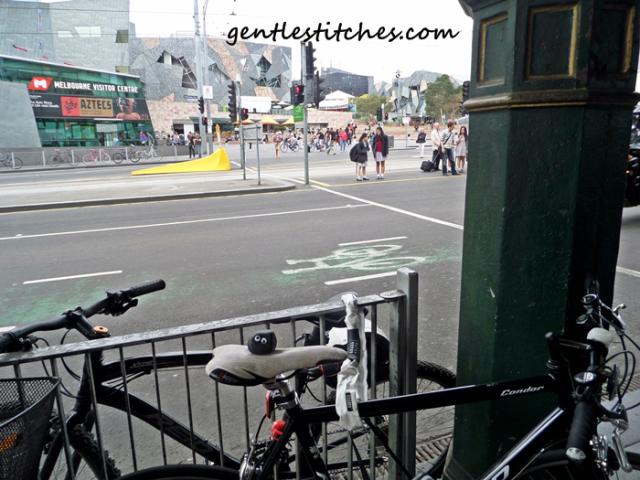 Bashful riding at Federation square