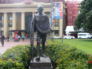 A statuee of Mahatma Gandhi, outside the Wellington Railway Station